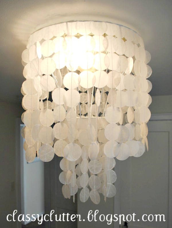 such an improvement to your typical builder grade light fixtures - Capiz Shell Chandelier