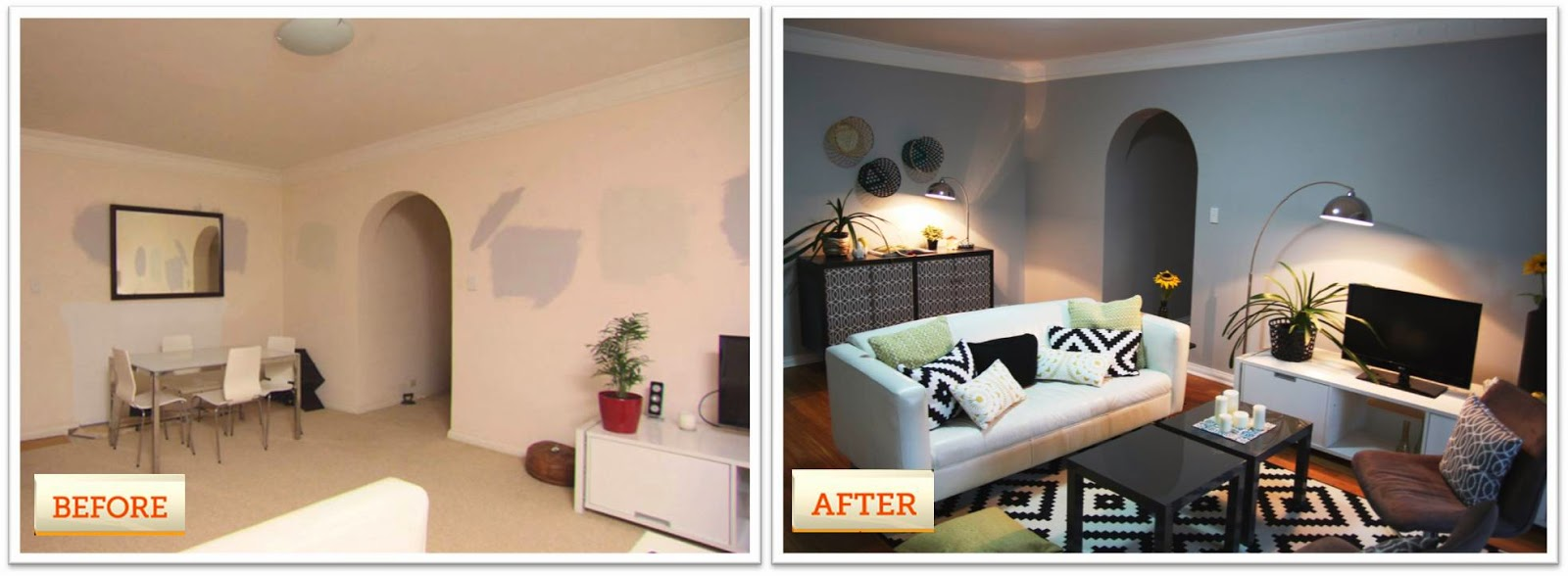 Living rooms before and after makeover for Channel 7 living room