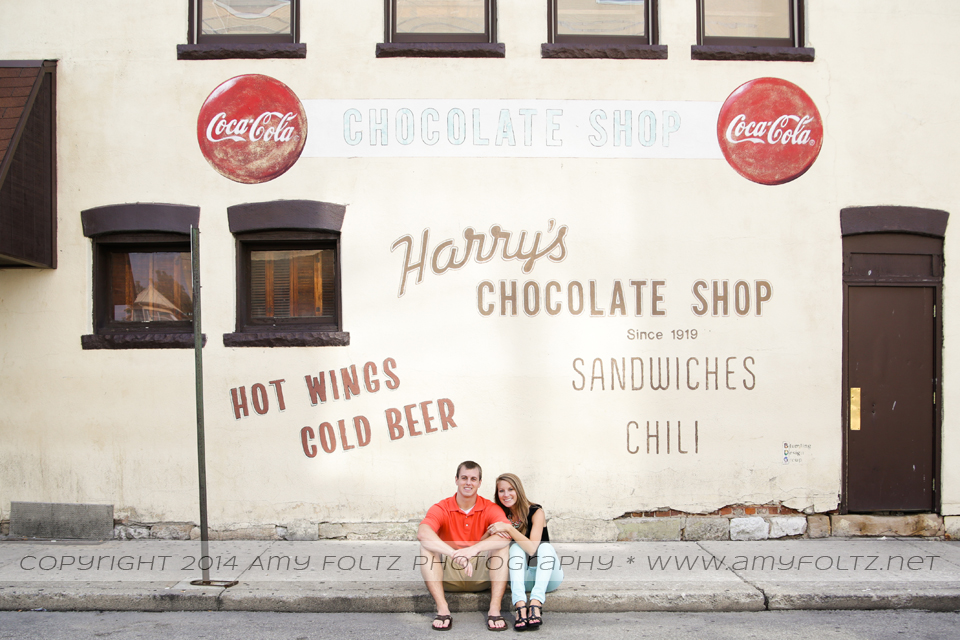 engagement photos at Harry's Chocolate Shop in West Lafayette, IN