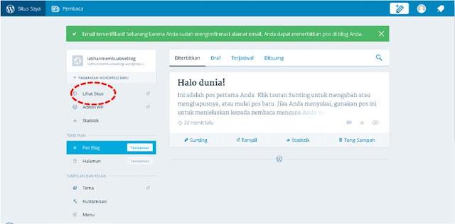 halaman dashboard wordpress