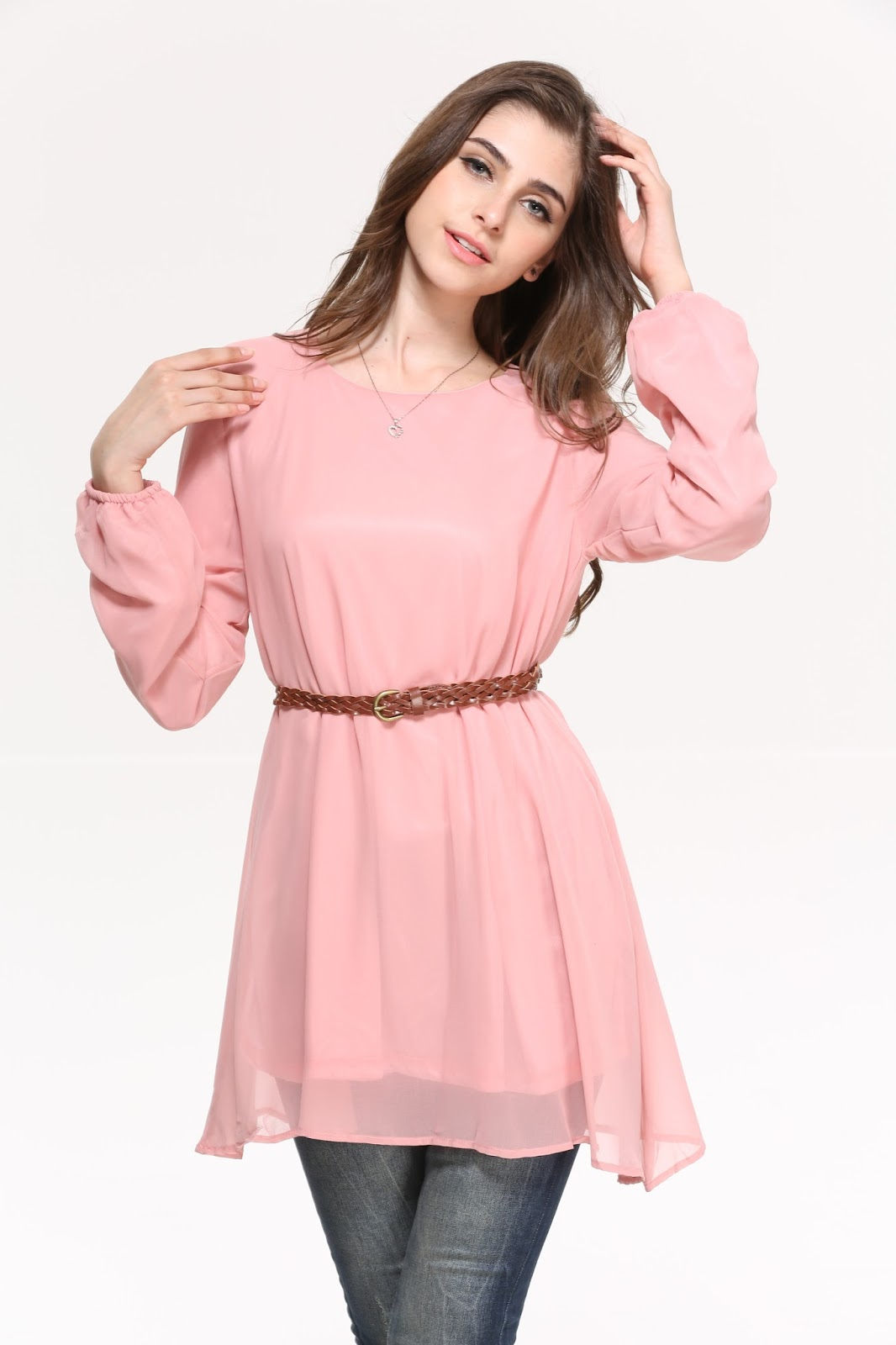 Chiffon Blouse With Belt PINK RM40