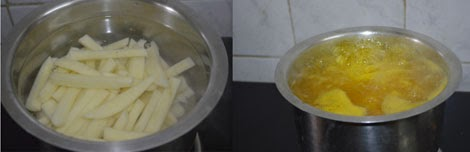 blanching the potatoes for french fries