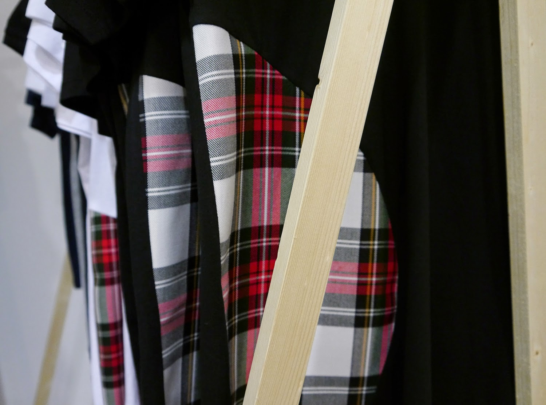 Wear Eponymous, The Wardrobe, Glasgow Fort, Glasgow Pop Up Shop, Shop Display, G69 clothing, Tartan tshirt, Scottish designer, menswear