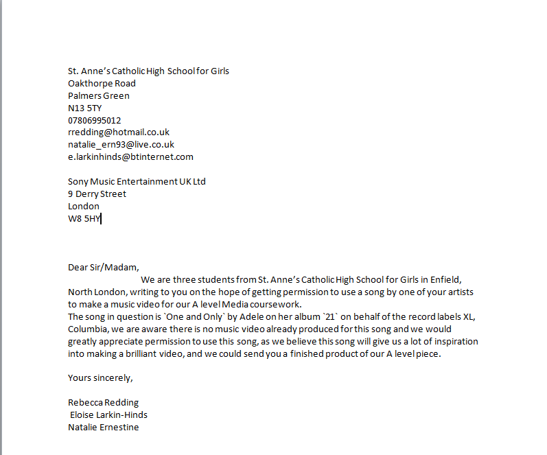 AS Media Coursework Permission Letter To Record Label