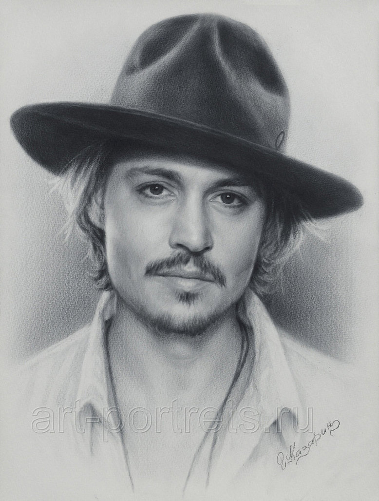 08-Johnny-Depp-Igor-Kazarin-Painting-and-Drawing-Portraits-with-Dry-Brush-www-designstack-co