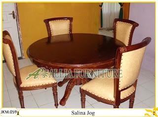 Kursi dan Meja Makan Kayu Jati Ukiran Salina Jog