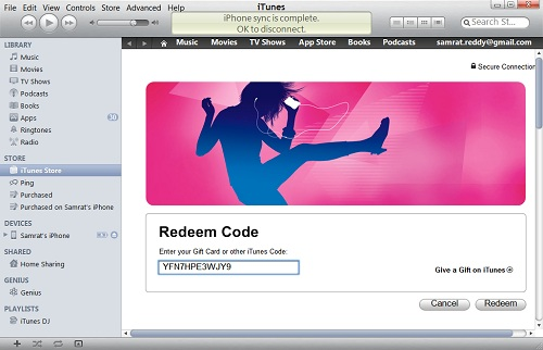 To redeem Free iTunes Redeem Codes in iTunes on your computer 01