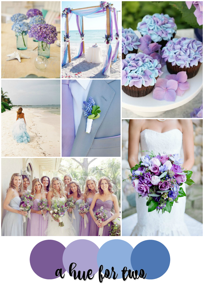 Lavender And Light Blue Beach Wedding Colour Scheme