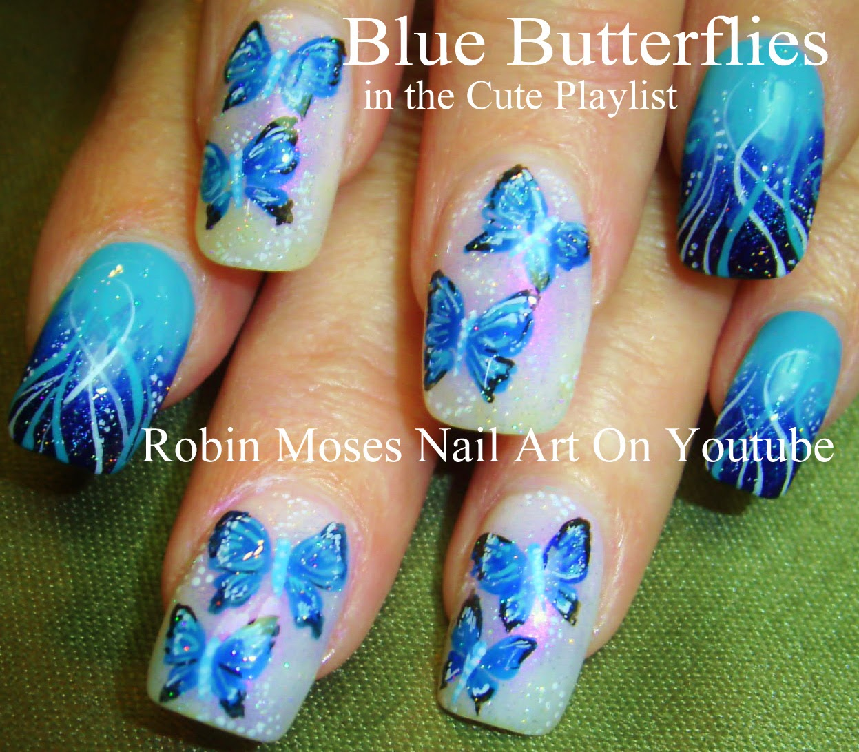 "Robin Moses Nail Art Designs: Robin Moses Nail Art: ""butterfly Nails"" Nails Nail Art"