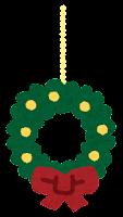 クリスマスの飾りのイラスト(リース)