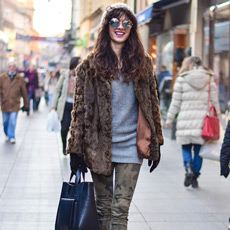 how to wear a faux fur coat, camo pants and ankle boots, women winter street style fashion Zagreb Croatia, Natalija Josić
