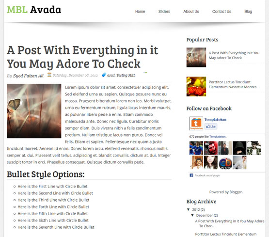 MBL avada responsive blogger template