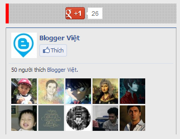 Chèn Facebook like-Google plus vào Blogger