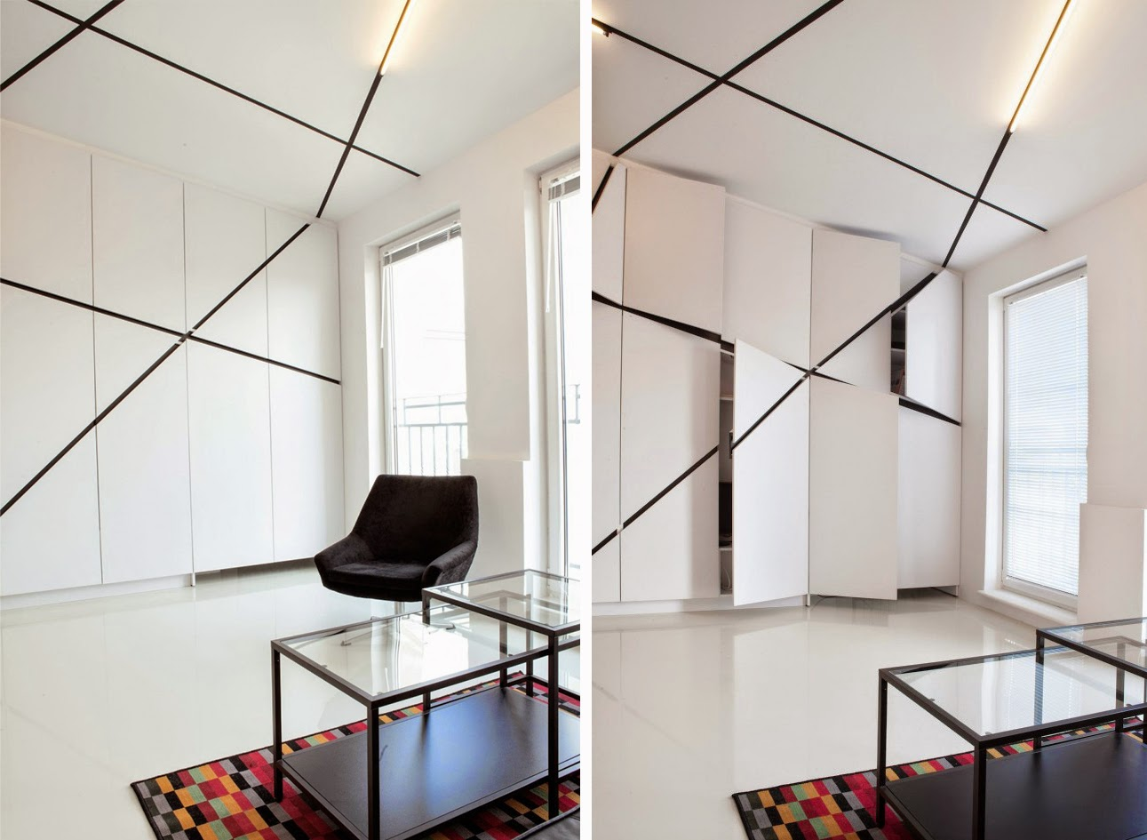 Apartamento minimalista en blanco y negro espacios en madera for Paredes blancas