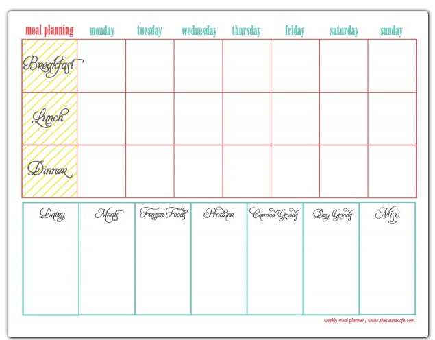 Planner Samples Sample Meal Planners