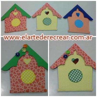 Casa de pjaros en cartulina y en tela estampadas RECREAR