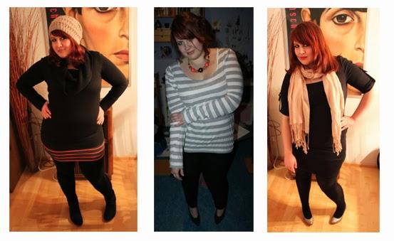 Eine Collage von plussize Outfits