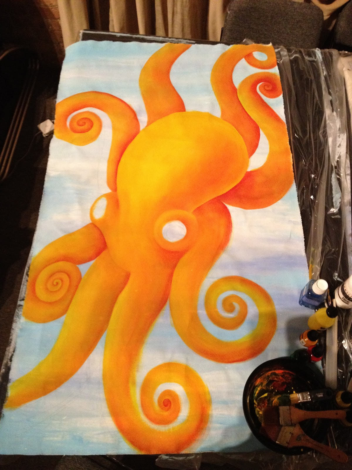 Orange Body Paint i Painted The Octopus Body