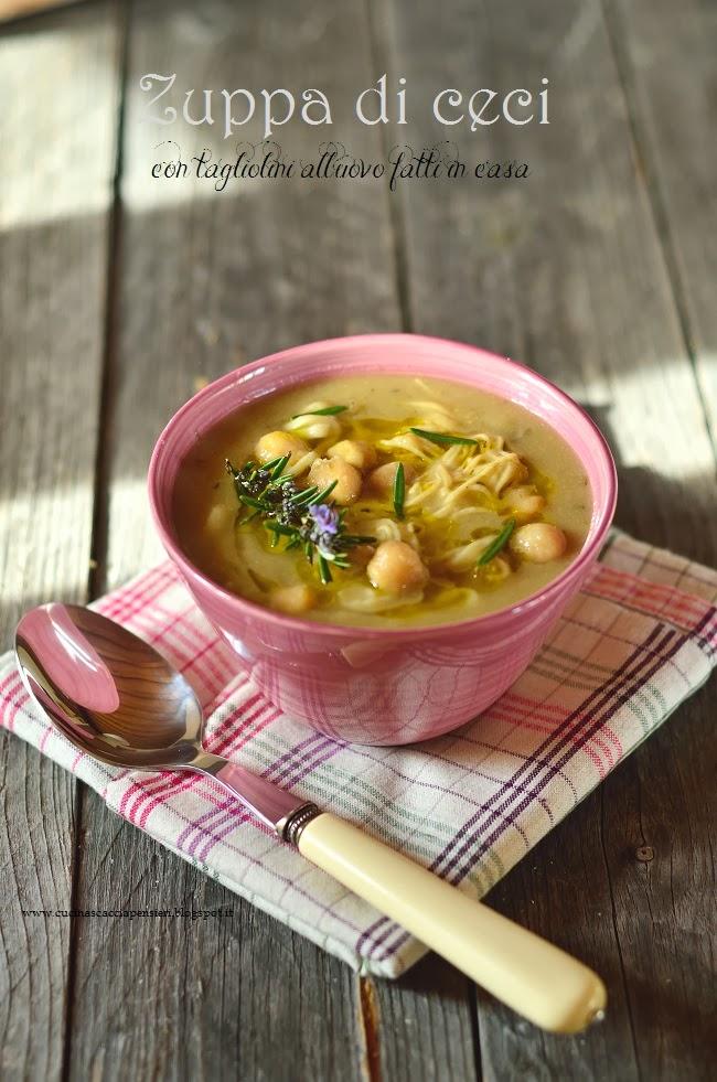 zuppa di ceci con tagliolini all'uovo