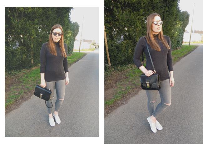 Topshop Jeans Slim Fit Jamie, schwarze Zara-Tasche, grauer Rollkragen Pullover, grey Turtleneck