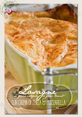 lasagne di farina integrale di grano kamut con crema di zucca e mozzarella