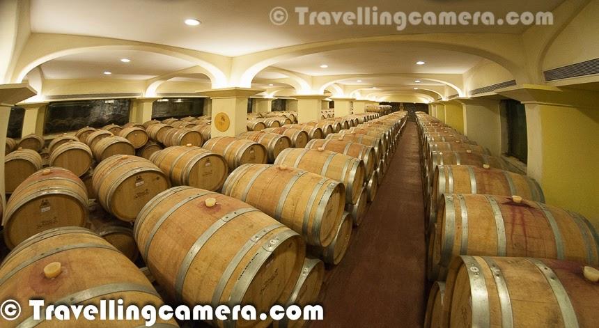 Wine barrels at Four Seasons Vineyard in Baramati, Maharashtra, India