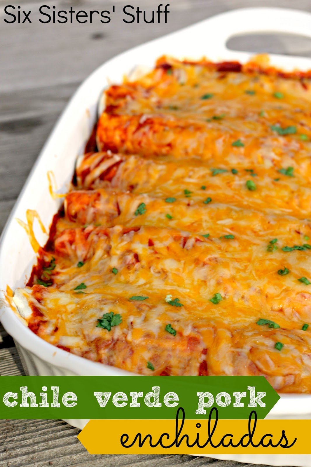 Slow Cooker Chile Verde Pork Enchiladas | Six Sisters' Stuff