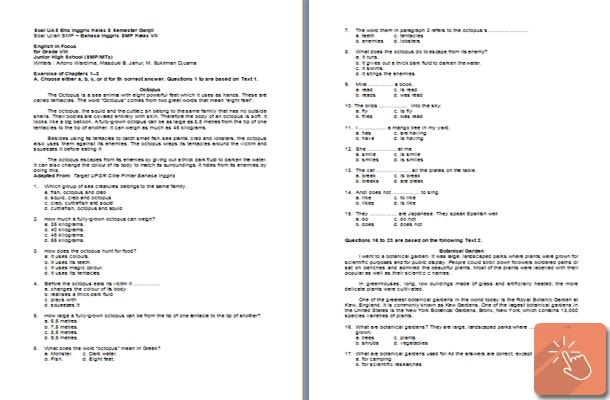 Contoh Soal UAS Bahasa Inggris Kelas 7 8 9 SMP