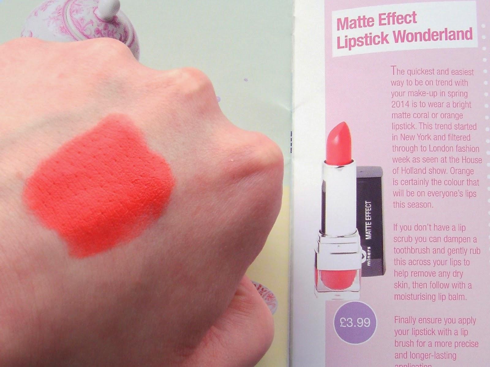 Miners Cosmetics Matte Effect Lipstick in Wonderland Swatch_Orange Lipstick Trend SS14