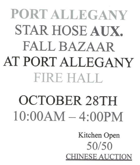 10-28 Port Allegany Fall Bazaar