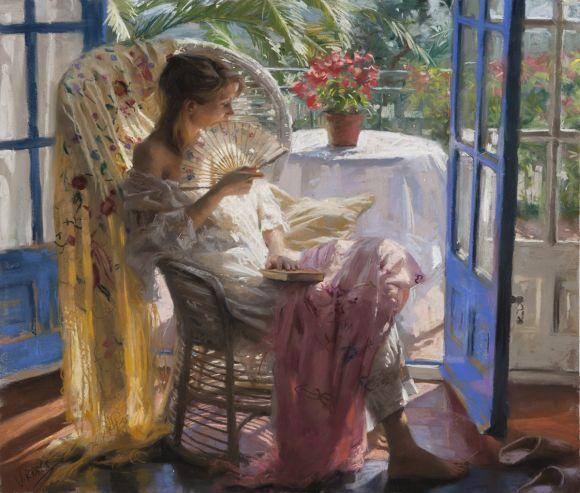 Vicente Romero pinturas mulheres impressionistas beleza Uma manhã de sol na varanda