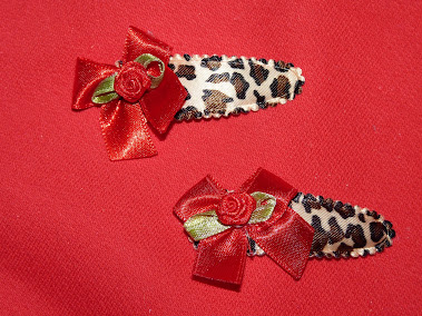 leopard red bow haircandy