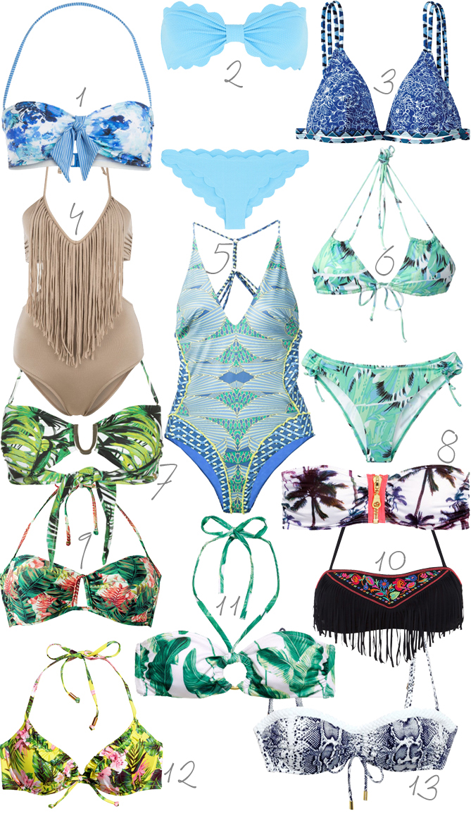 swimwear 2015 tropical print blue