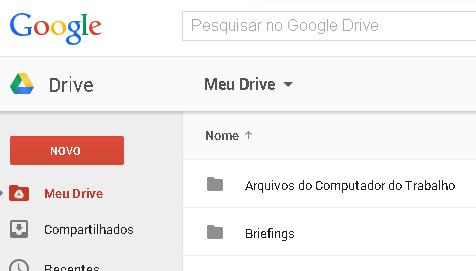 Botão para criar documentos no Google Drive