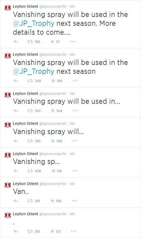 Leyton Orient tweet brilliant vanishing spray announcement