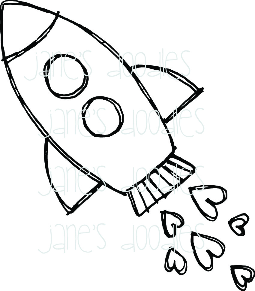 Rocket Ship Coloring Pages Sketch Page