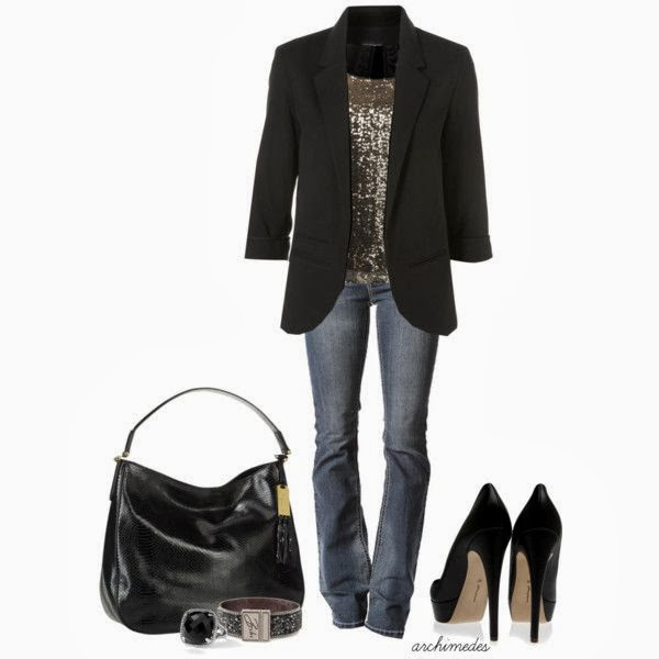 Black coat wiht shiny blouse denim pants high heel shoes with hand bag