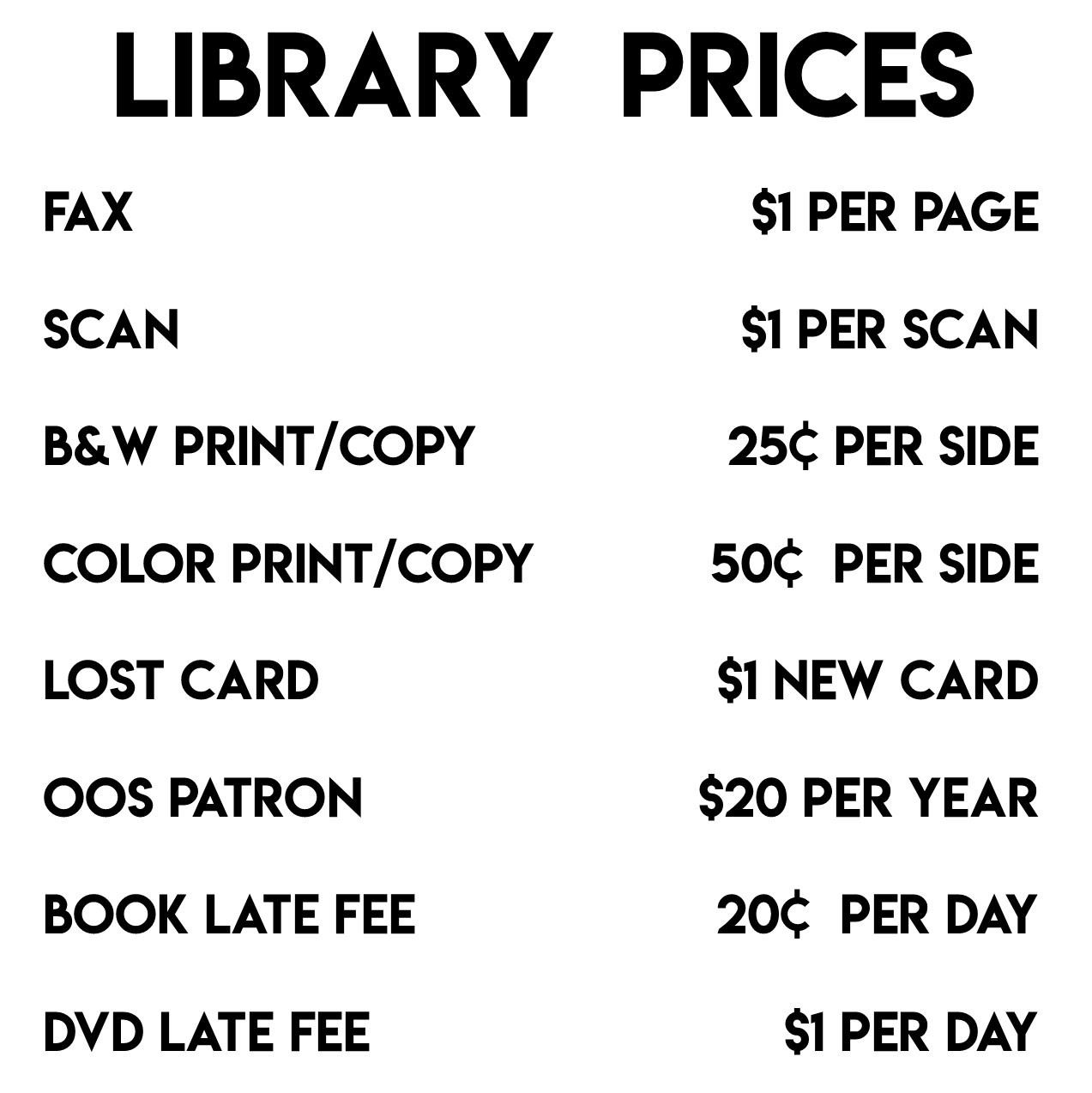 Library Prices