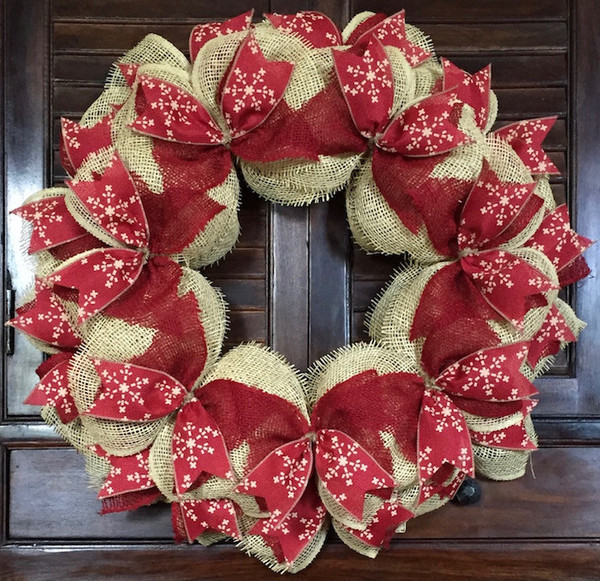 the christmas red white chevron wreath a classic holiday wreath the red and white mesh ribbon highlights the silk ribbon in a red white chevron print - Burlap Christmas Wreath