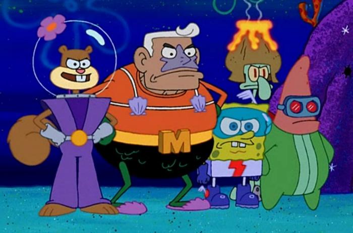 IJLSA (perannya digantikan oleh SpongeBob dkk) bersama Mermaidman ...