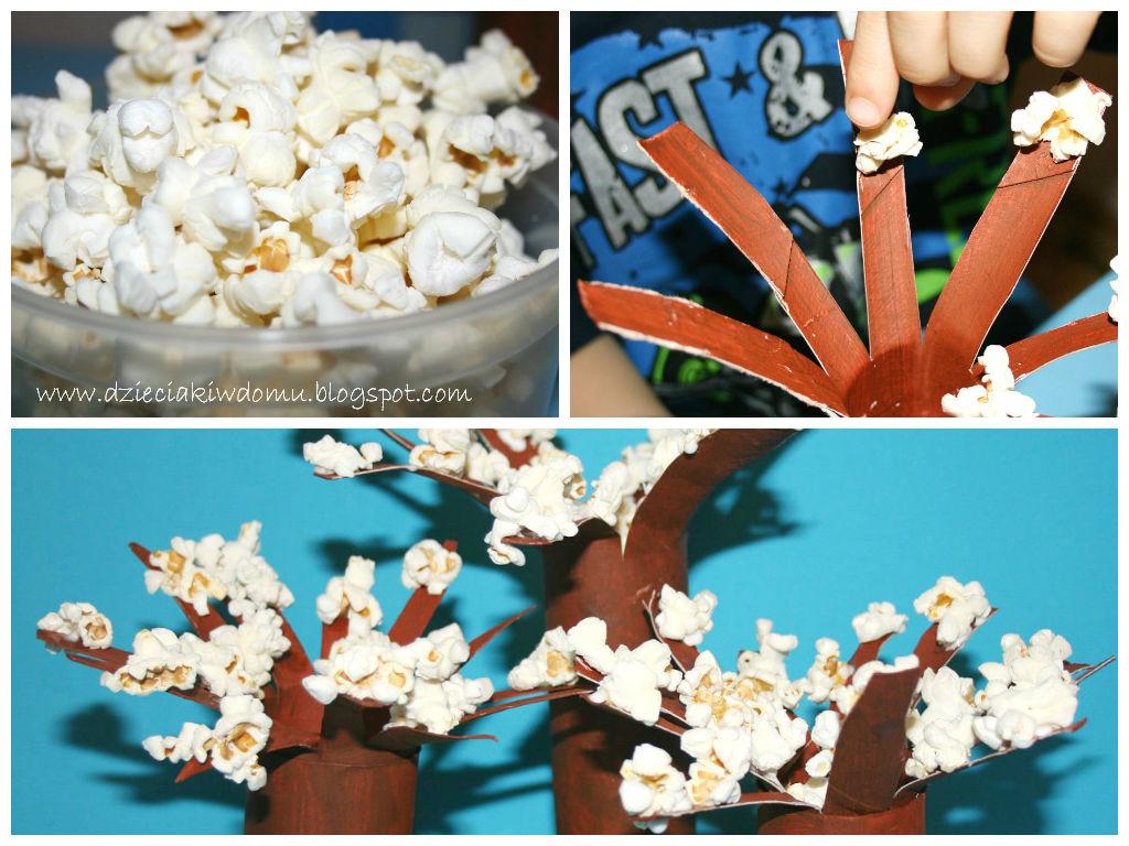 wiosenne drzewka z popcornu i rolek po papierze toaletowym, kreatywna zabawa dla dzieci