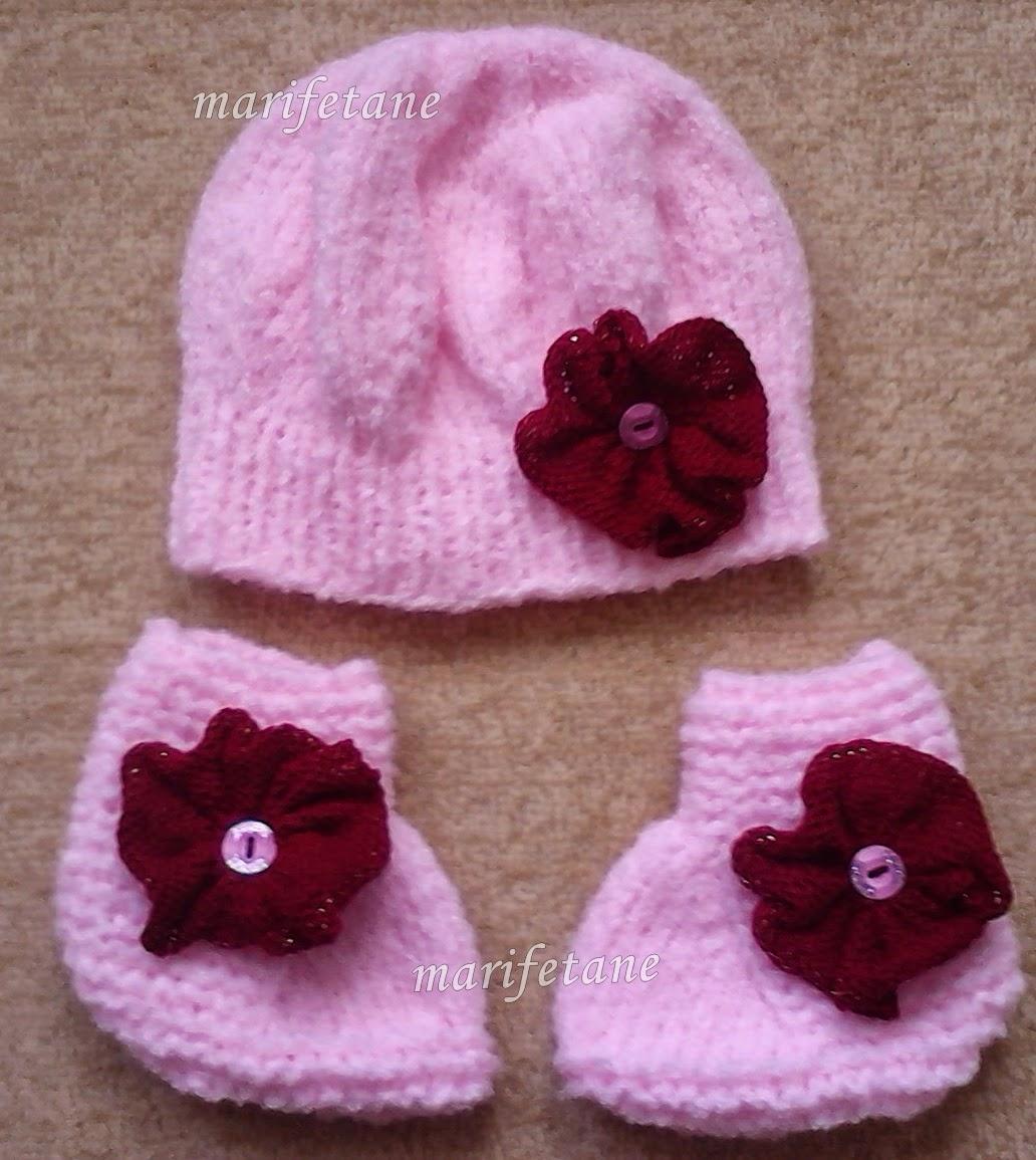 Örgü Bebek Şapkası ve Patiği