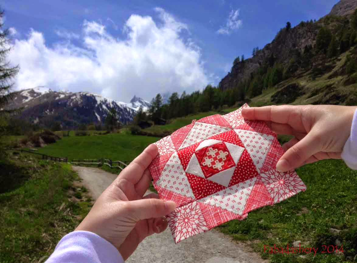 Nearly Insane Quilt Block 82 - View of the Matterhorn from Zermatt