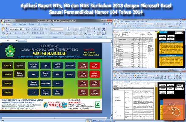 Aplikasi Raport MTs, MA dan MAK Kurikulum 2013 Sesuai Permendikbud Nomor 104 Tahun 2014