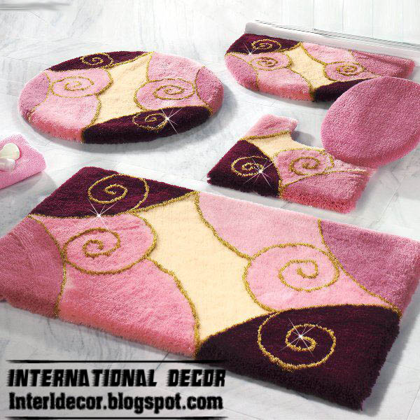 pink rugs pink bathroom rug set modern bathroom rug sets models - Designer Bathroom Rugs