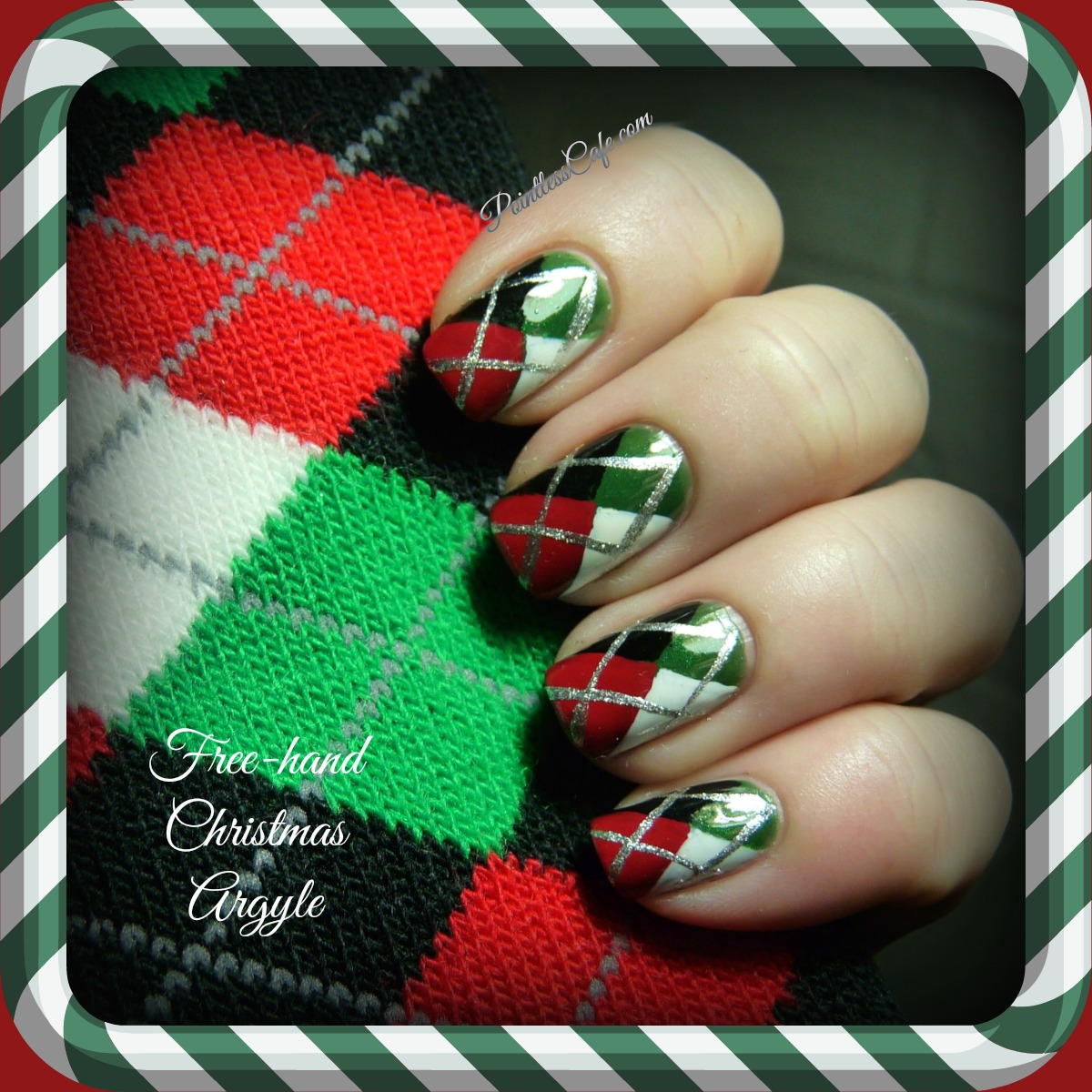 Christmas Nail Designs Tutorial: With Freehand Argyle Nails