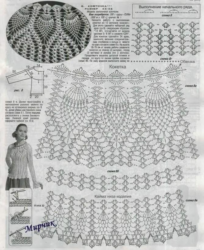 TRICO y CROCHET-madona-mía: Blusa punto piña ganchillo con patrón