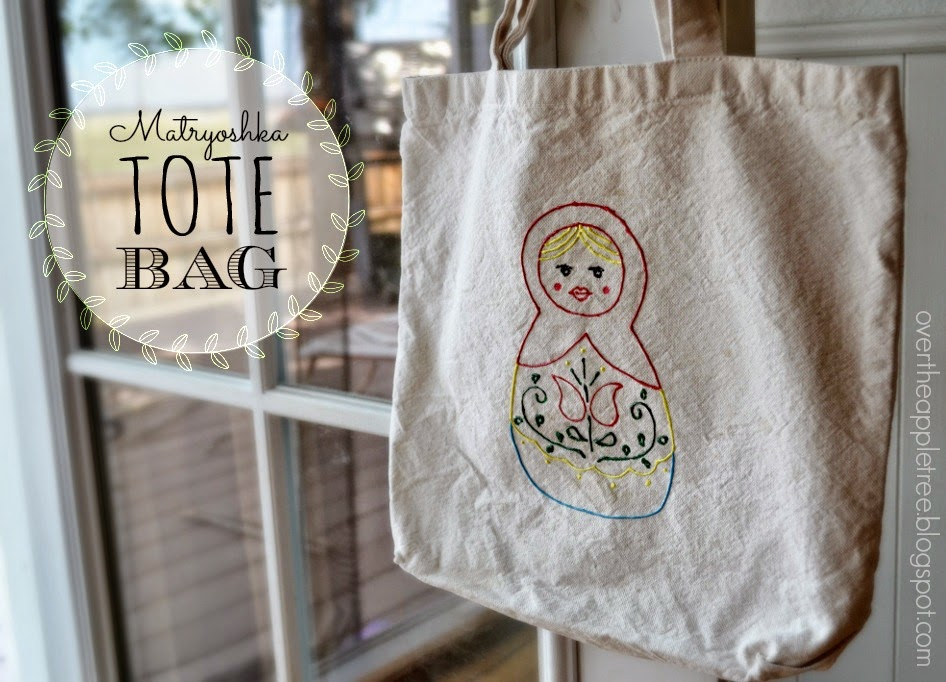 DIY Matryoshka Tote Bag {Over The Apple Tree}  Turn a plain canvas tote bag into a fun art project with puffy paint!