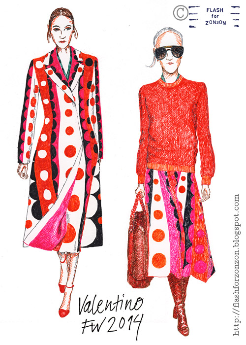 Valentino FW 2014, catwalk illustration