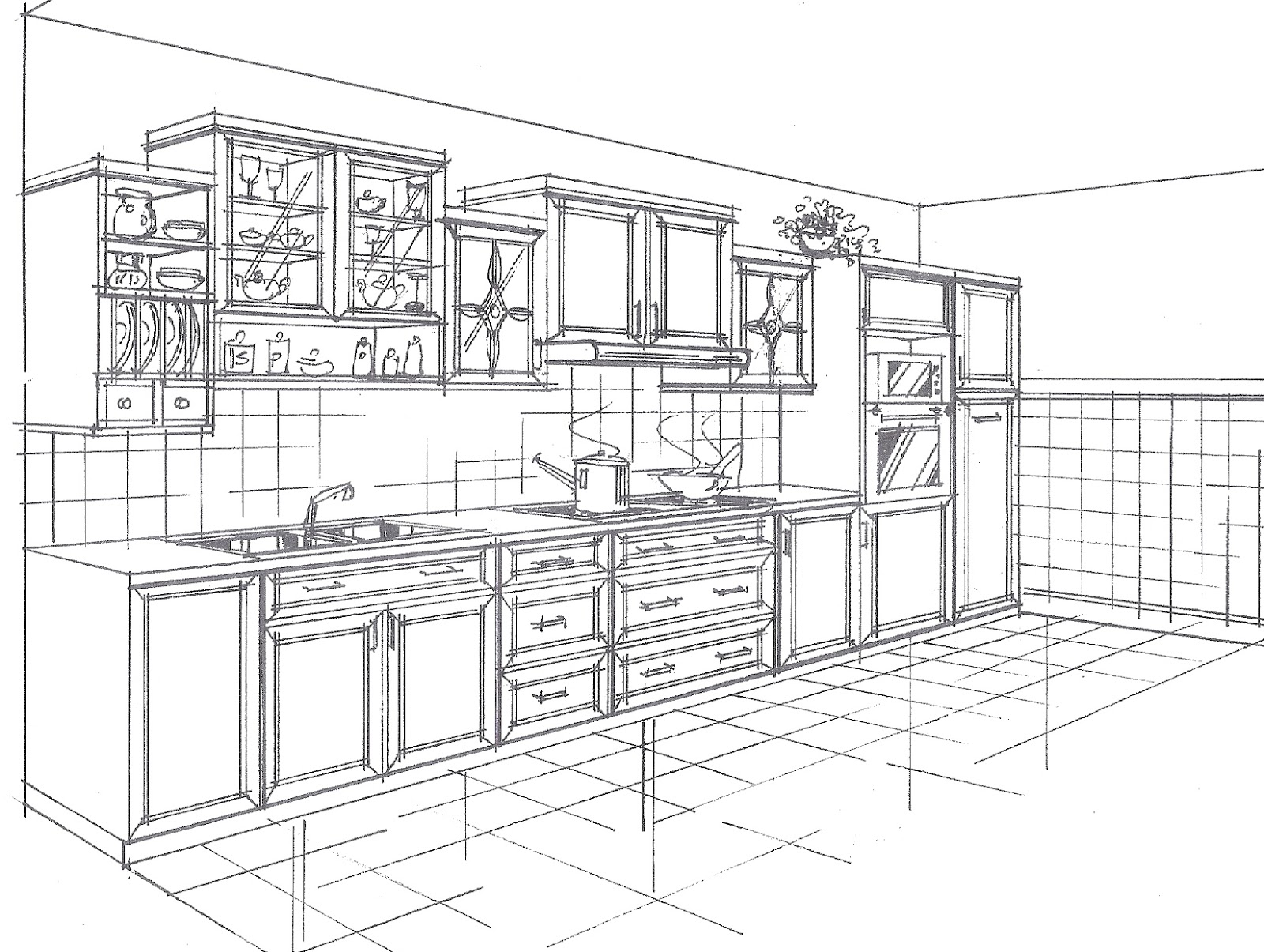 Kitchen Drawing Perspective carpentry and renovation works: 2d drawing